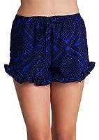 Woman Royal Blue Black Graphic Print Ruffle Hem Self Tie Front Shorts