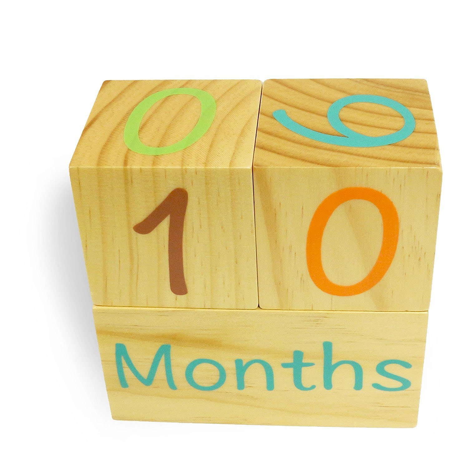 Emmzoe Wooden Photo Blocks Baby Growth Development Wood Portrait Prop (Days, Weeks, Months, Years) by Emmzoe