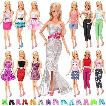 33a30ad8945 Amazon.es  Miunana mucho 15X articulos   5 X Vestidos Estilo al Azar 10  Pares Zapatos para Barbie Muñeca gegalo Navidad  Juguetes y juegos