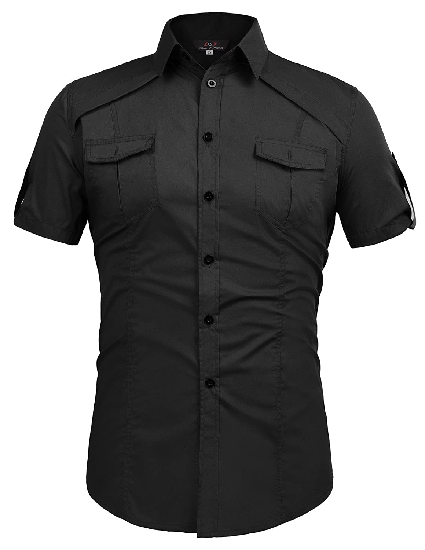 Paul Jones Men Fashion Designer Dress Shirts Stylish Short Sleeve