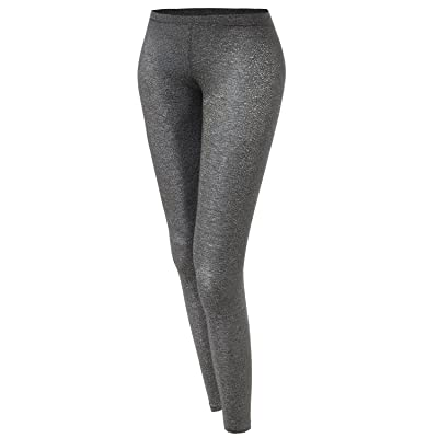 Awesome21 Women's Basic Glittery Metallic Leggings