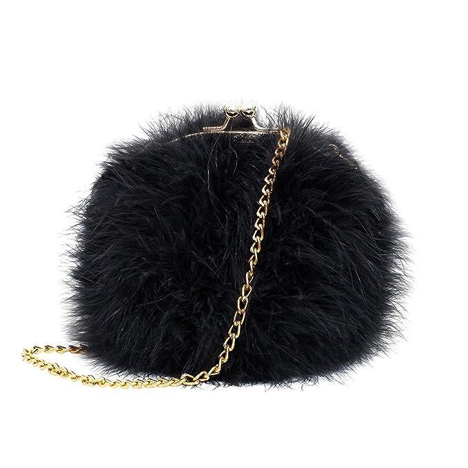 Asien Women Faux Fur Fluffy Crossbody bag Round Clutch Purse Wedding Handbag (Black) 2a4a1c06883c0