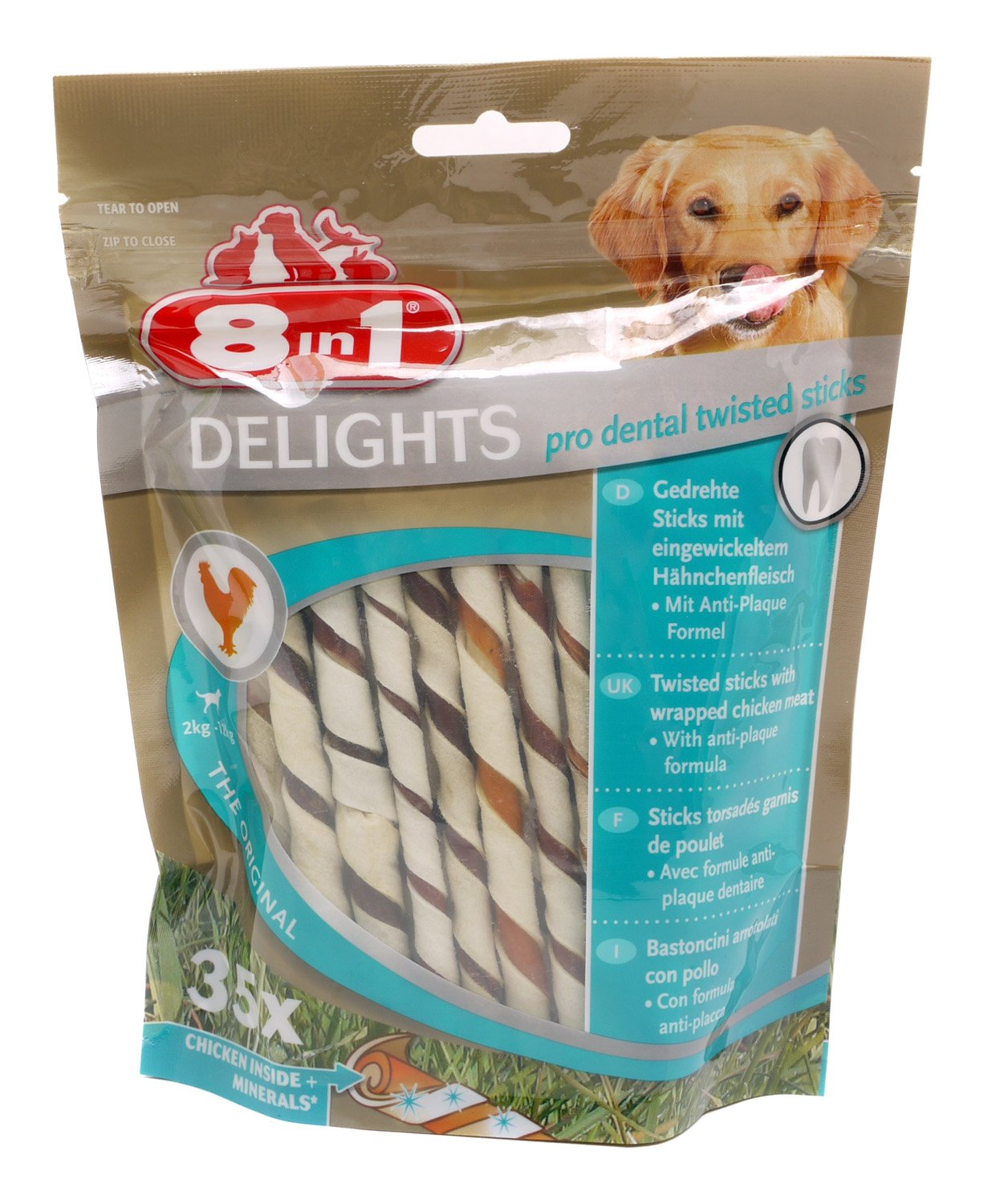 8in1 Dog Delights Dental Twist Sticks 190g (Pack of 5)