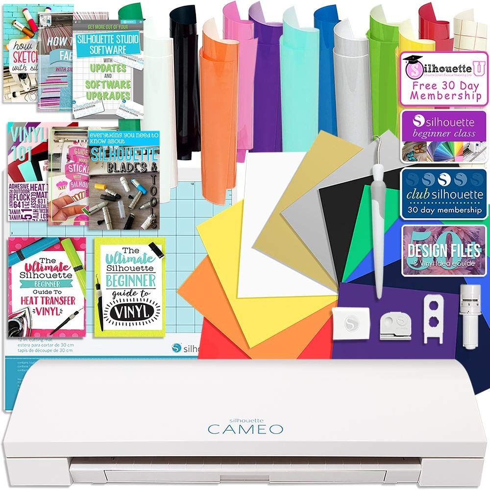 Silhouette CAMEO 3 Bluetooth Starter Bundle with 12 Oracal, 651 Sheets and 12 Siser Easyweed Heat Transfer Sheets