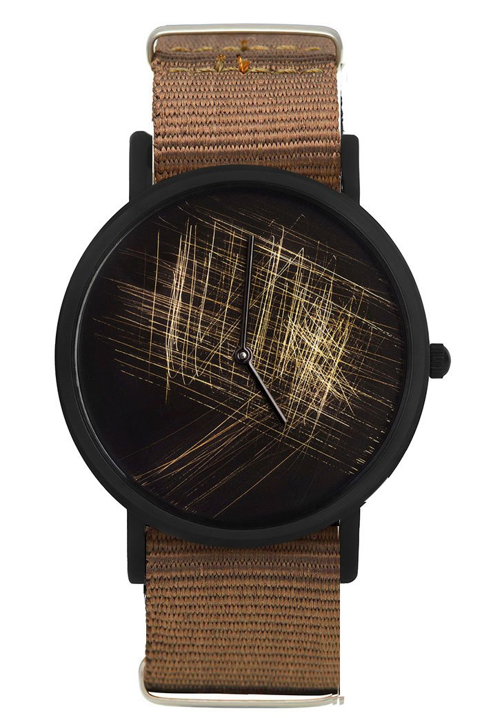 South Lane 'NOIR silver' Swiss Quartz Stainless Steel and Canvas Casual Watch, Color:Brown (Model: 659436314351)