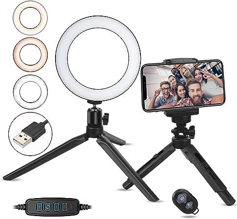 Todo para el streamer: Zacro 6 Pulgadas LED Anillo de Luz Trípode y Soporte para Teléfono, 3 Modos de Luz y 10 Niveles de Brillo, Soporte para Selfie, Ring Light LED para Transmisión en Vivo, Movil, Selfie