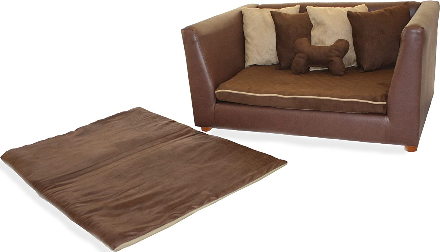 amazoncom deluxe orthopedic memory foam dog bed set large brown pet beds pet supplies