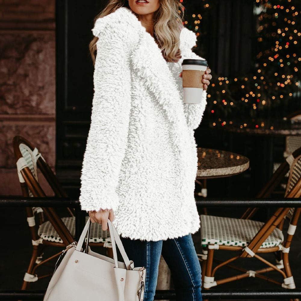 LEXUPE Women Autumn Winter Warm Comfortable Coat Casual Fashion Jacket Ladies Warm Artificial Wool Coat Jacket Lapel Winter Outerwear