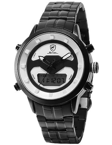 SHARK Hombre Cuarzo Relojes de Pulseras Acero Inoxidable LCD Cronómetro de Alarma Zona horaria Doble visualización de la Fecha del día SH555: Amazon.es: ...