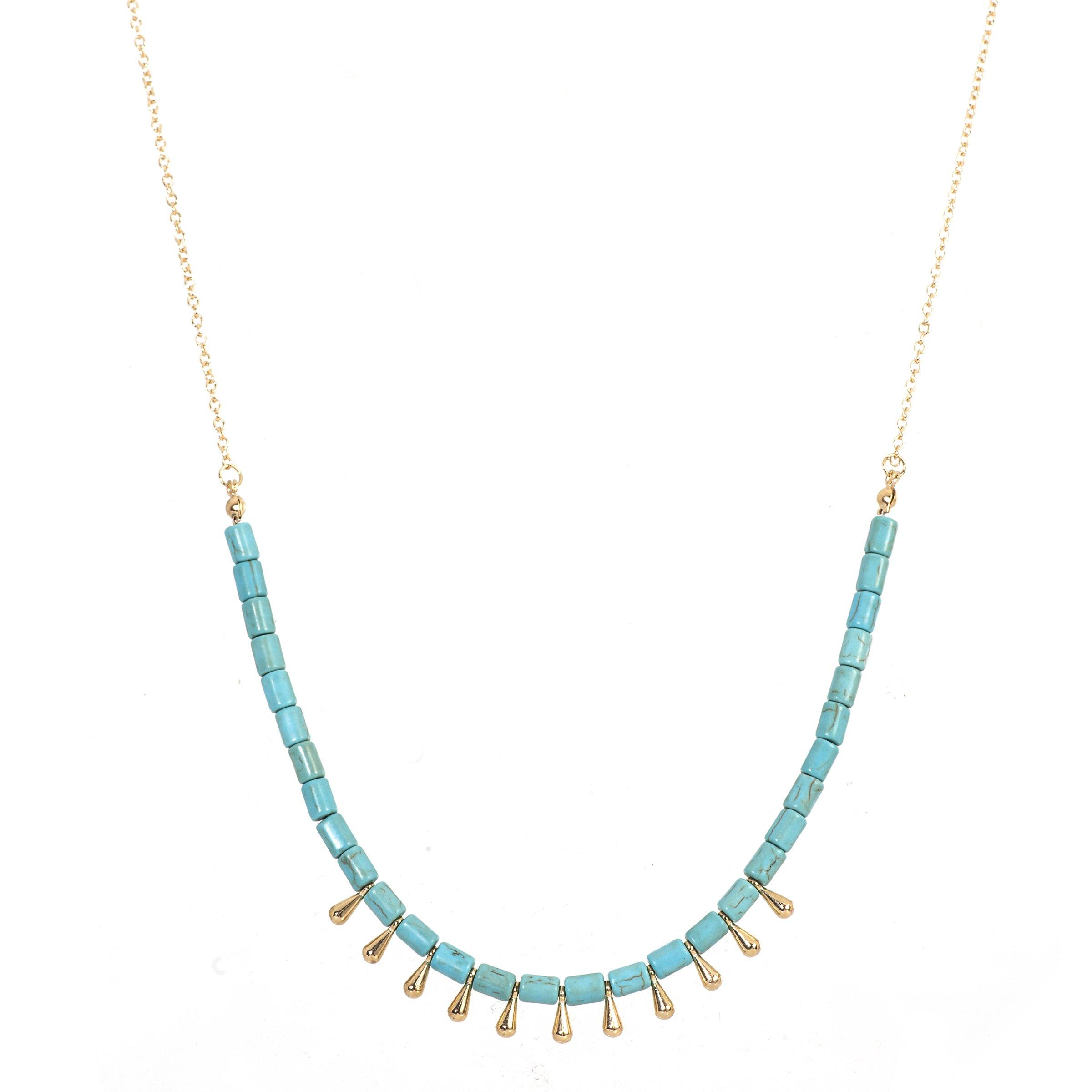 Lova Jewelry Beaded Turquoise Stone Teardrop Charm Gold Tone Metallic Necklace