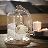 Cristal Bell Jar stolp con cuerda y base de madera farol de cúpula de decoración del hogar jardín, vidrio, Medium