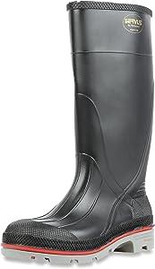 "Servus XTP 15"" PVC Chemical-Resistant Soft Toe Men's Work Boots, Black, Red & Grey (75108)"