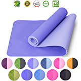 LOVE'S Yoga Mat Fitness Exercize Mat Travel Gym Workout Non Slip Extra Thick 1/4 6mm Long Pilates Mat with Carrier Strap Eco No Toxic for Kids Men and Women TPE Reversible