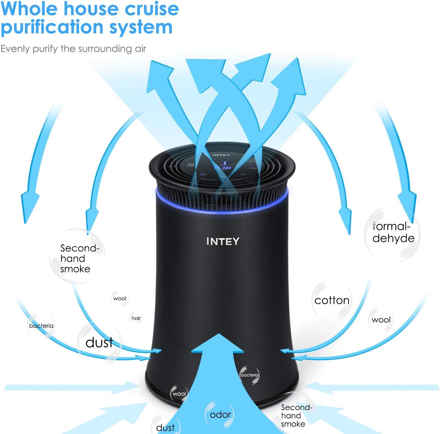 INTEY Purificador de aire para casa, oficina, auténtico HEPA, 3 etapas de filtración, 5 opciones de velocidad, filtro de carbón, temporizador, luz azul, elimina el polvo, PM2.5, formaldehído, olores: Amazon.es: Hogar