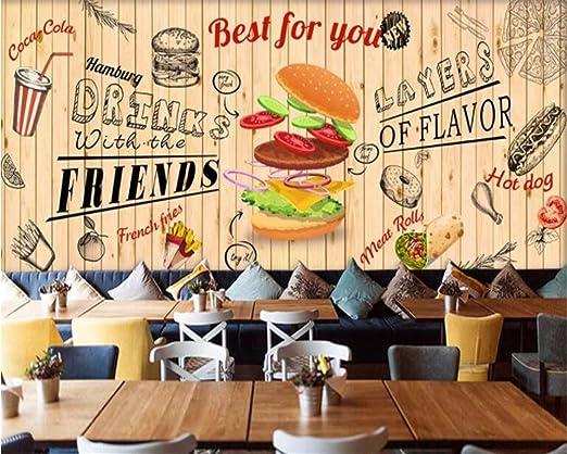 Murales Belleza Pintado A Mano Hamburguesa Restaurante De Comida ...