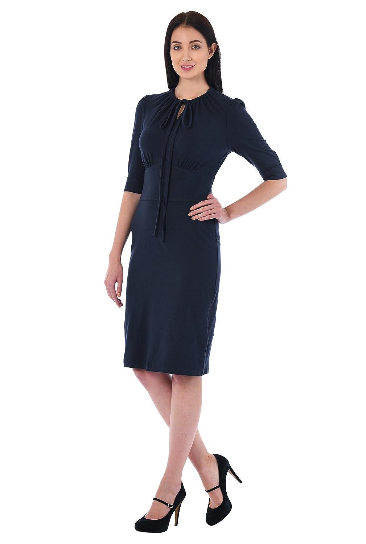Wiggle Dresses   Pencil Dresses 40s, 50s, 60s eShakti Womens Puff Sleeve Cotton Knit Sheath Dress $49.95 AT vintagedancer.com