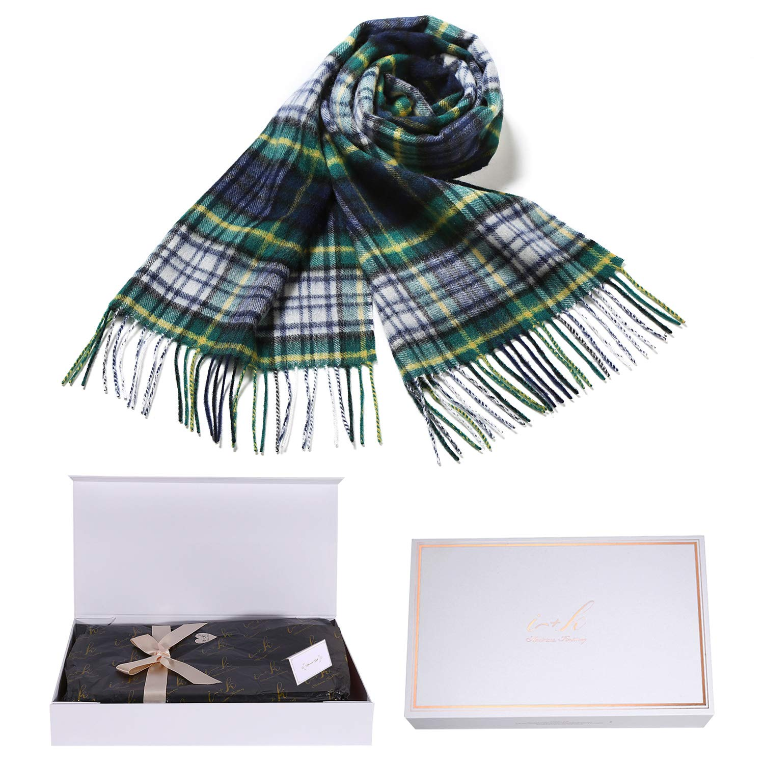 i+k 100% Pure Merino Lambswool Plaid Scarf for Women - Soft Wool Fashion Winter Warm Wrap with Gift Box (Green Grid) by i+k
