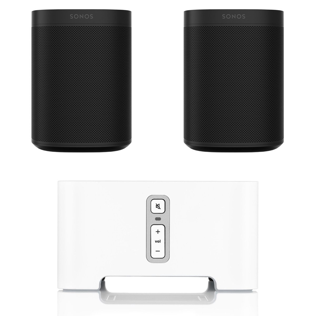 Sonos ONE Voice Controlled Smart Speakers (Black) with CONNECT Wireless Hi-Fi Player by Sonos