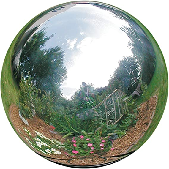 OXSNice 23 inch Gazing Ball,Silver Stainless Steel Garden Sphere Mirror Globe Ball,Polished Reflective Smooth Hollow Ball,Durable Shiny Decorations for Garden Patio Yard Home
