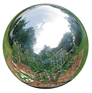 HomDSim 25 cm/10 inch Diameter Gazing Globe Mirror Ball,Silver Stainless Steel Polished Reflective Smooth Garden Sphere,Colorful and Shiny Addition to Any Garden or Home