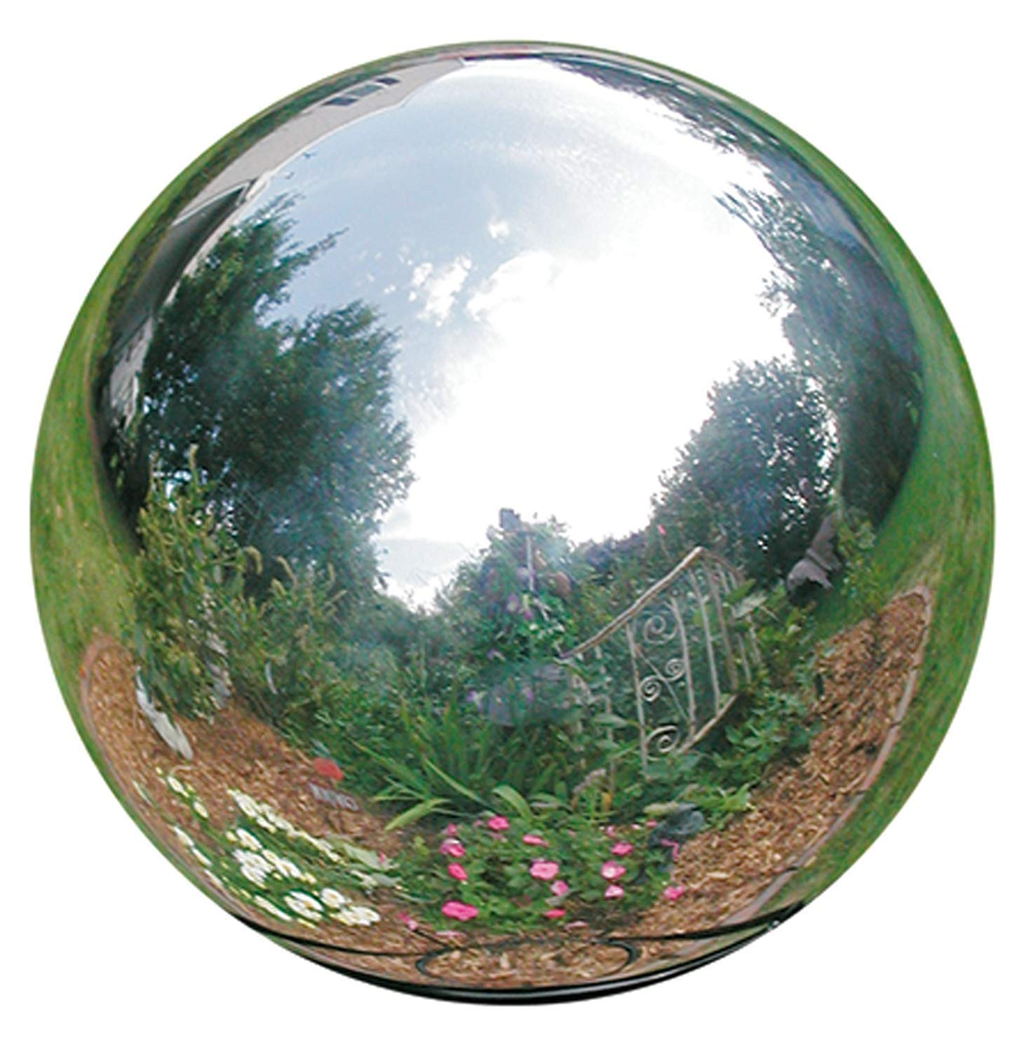 HomDSim 42 cm/16.5 inch Diameter Gazing Globe Mirror Ball,Silver Stainless Steel Polished Reflective Smooth Garden Sphere,Colorful and Shiny Addition to Any Garden or Home