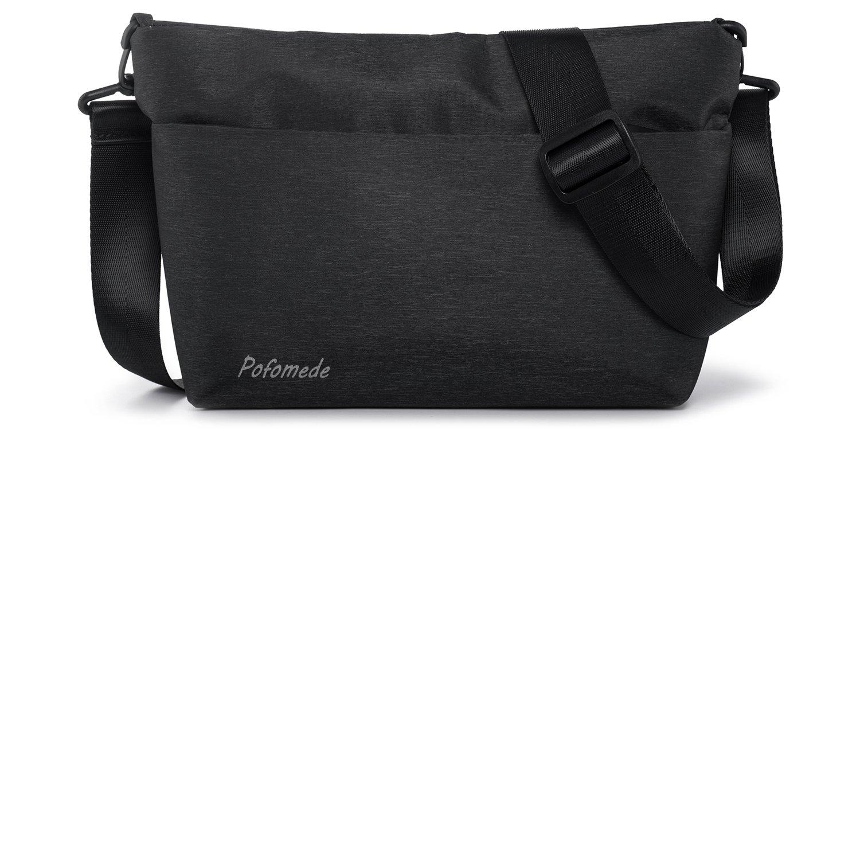 Pofomede Small Crossbody Bags Hobo Messenger Bag Men Shoulder Bags Satchel Tote Handbag Multi-Pocket Travel Purse Carrying Bag Casual Bags Travel Hiking Outdoor Sports Work Lightweight Nylon Black