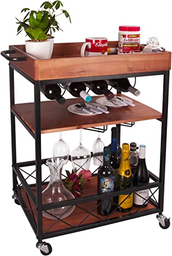 Solid Wood Meta Bar and Serving Cart with Wheels- Industrial Style Rolling Storage Cabinet Trolley – Kitchen Bar Dining Room Tea Wine Rack with Wine and Bottle Holder