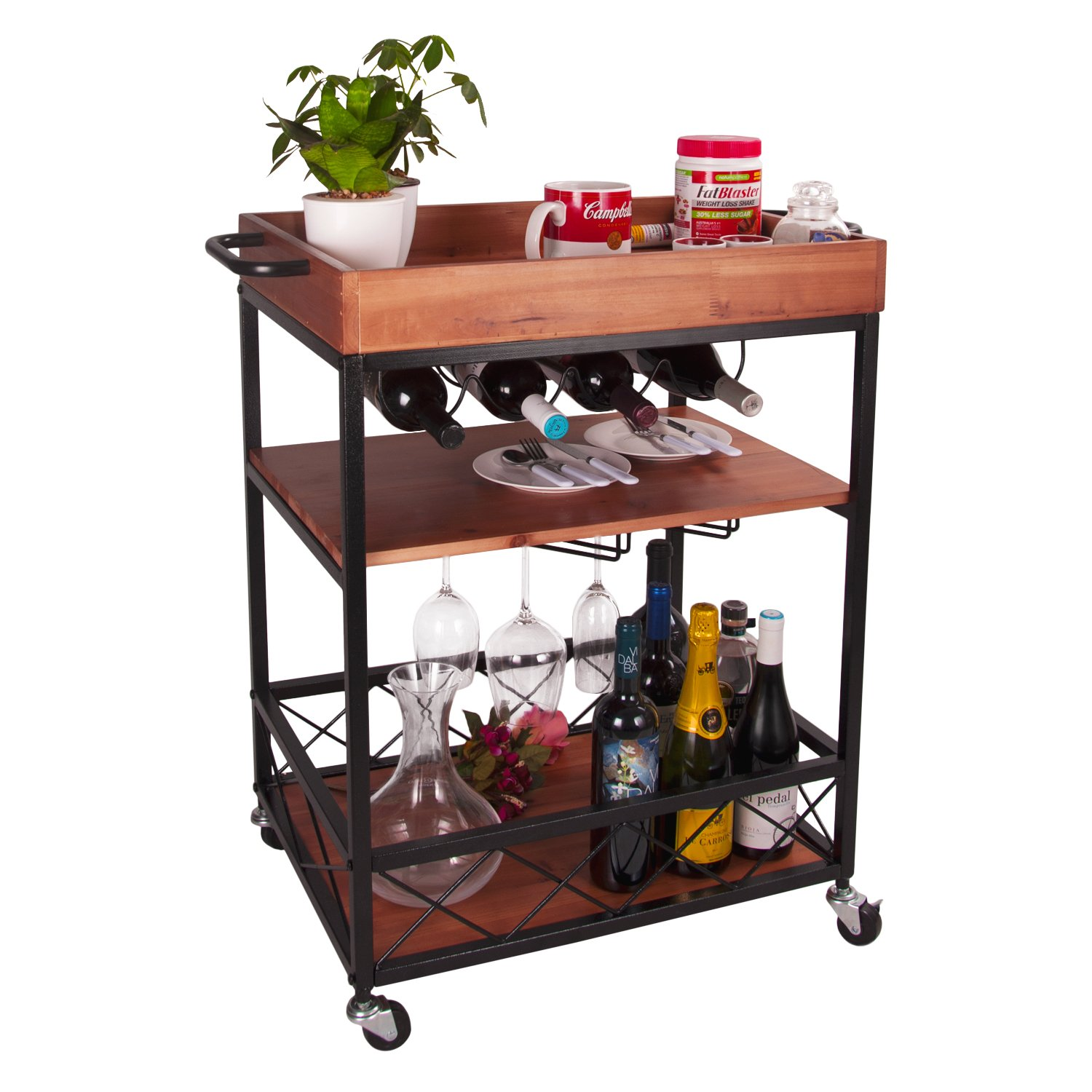 Solid Wood Meta Bar and Serving Cart with Wheels- Industrial Style Rolling Storage Cabinet Trolley - Kitchen Bar Dining Room Tea Wine Rack with Wine and Bottle Holder by Elevens
