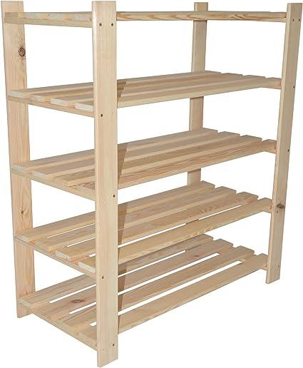90 x 80 x 37 cm, 5 estantes, madera, zapatero, zapatero, estantería ideal para zapatos, estantería de madera, estantería de almacenamiento, perchero, ...