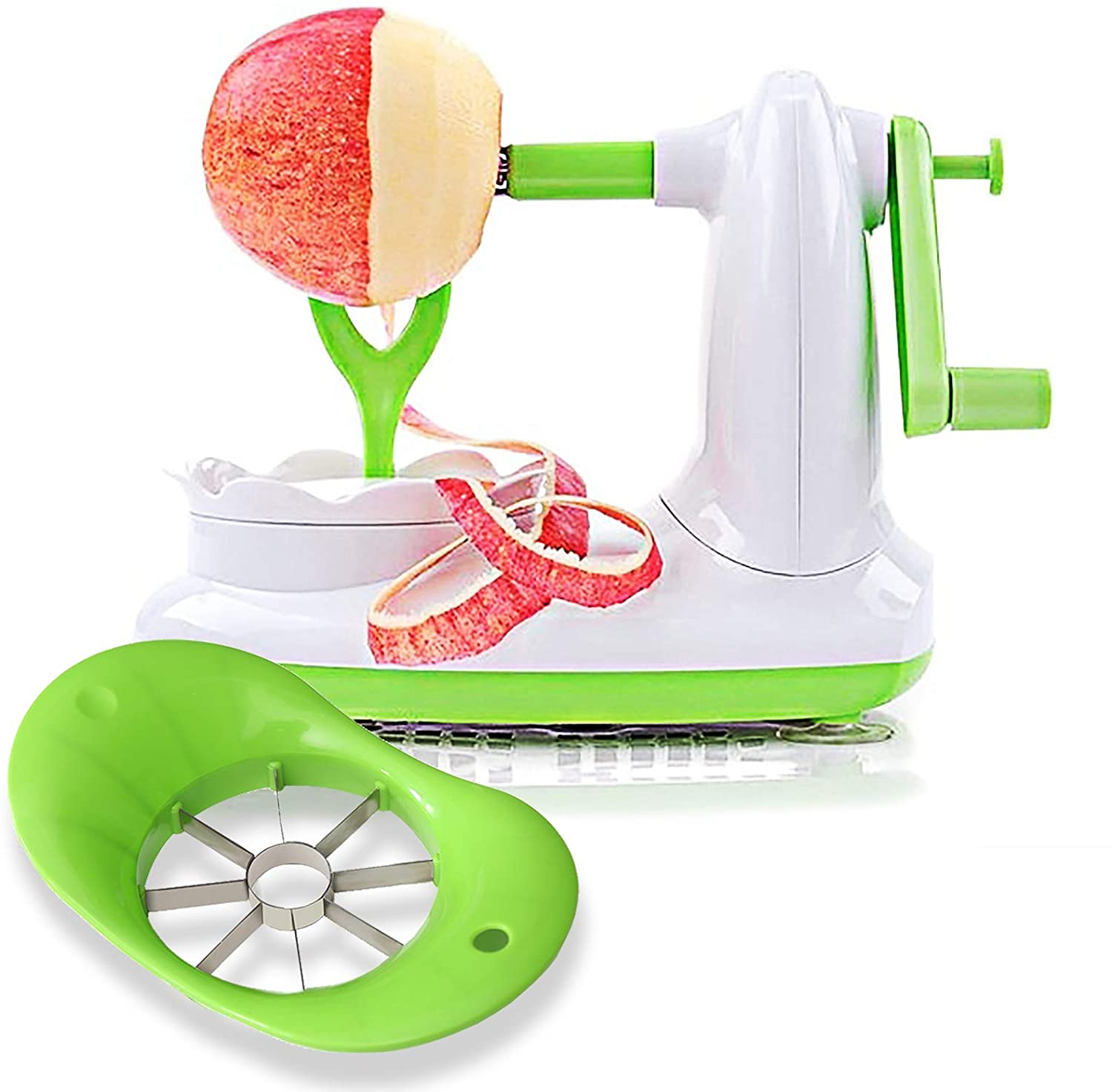 EZMO Apple Peeler, Pear Peeler with 8 Wedges Apple Slicer and Corer, Stainless Steel Blades