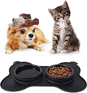 Slow Feeder Dog Bowls for Small Dogs and Cats 3 in 1 Double Dog Food Bowl with No-Spill Non Skid Silicone Mat Eco-Friendly Non-Toxic No Choking Healthy Design Fun Feeder Pet Feeder