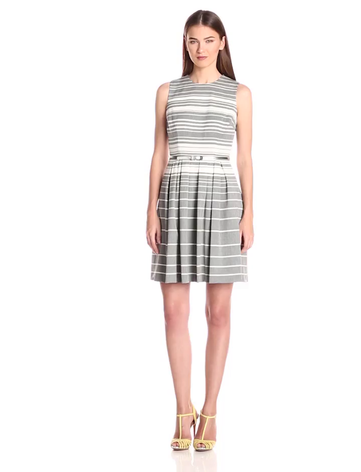 Calvin Klein Women's Striped Belted Fit and Flare Dress, Charcoal/Cream, 10
