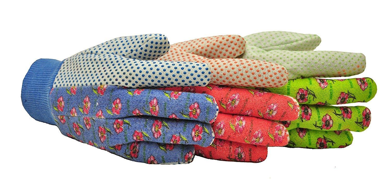 G & F 1852-3 Women Soft Jersey Garden Gloves, Women Work Gloves, 3-Pairs Green/Pink/Blue per Pack (10 Pack)