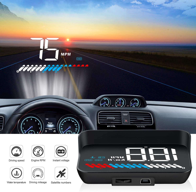 Universal Heads Up Display,Dual System Multifunctional Trip Computer Digital Car HUD OBD2//GPS Gauge Speedometer,Play Vehicle Speed KM//H MPH,Overspeed Warning,Mileage Odometer,Coolant,Turbo Pressure