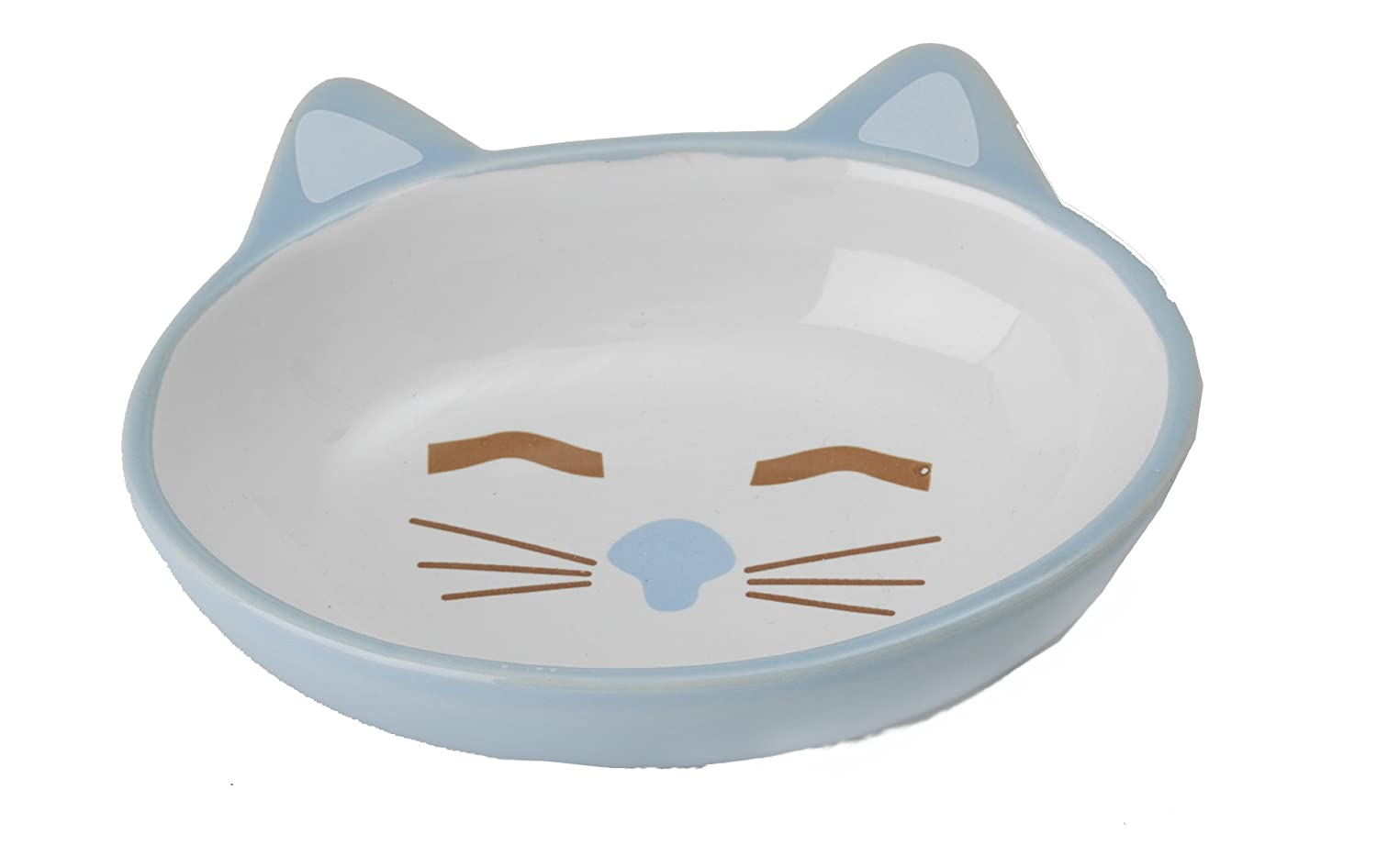 Here Kitty 5.3oz Oval Stoneware Pet Bowl