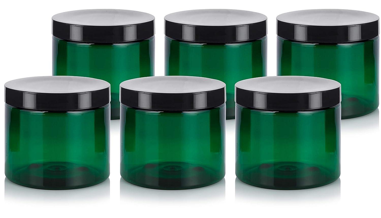 Green 16 oz PET Plastic BPA Free Large Refillable Jar – 6 Pack