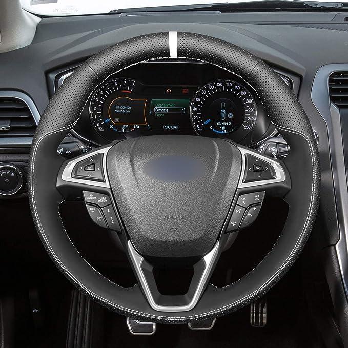 Mewant Lenkradbezug Lenkradhülle Handgenähte Customized Aus Echtleder Wildleder Lenkrad Wrap Für Ford Mondeo 2014 2020 Edge 2015 2020 Galaxy 2015 2020 S Max 2015 2020 Auto