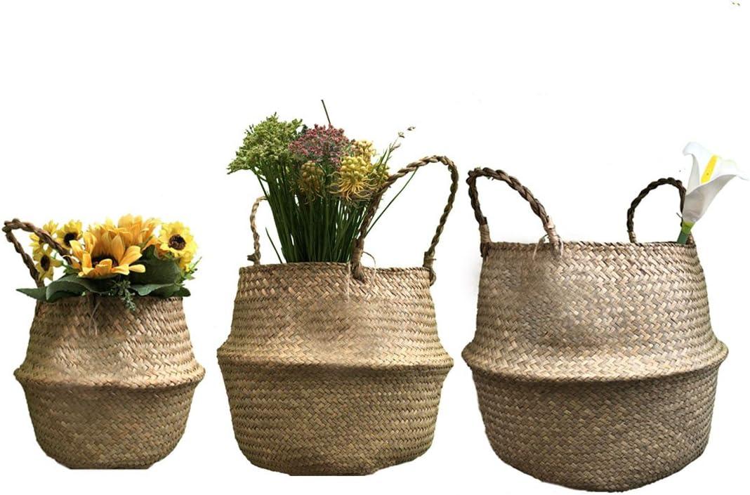 Mehrzweck Seegras Korb Handstricken Blumenkorb Wäschekorb Aufbewahrungskorb