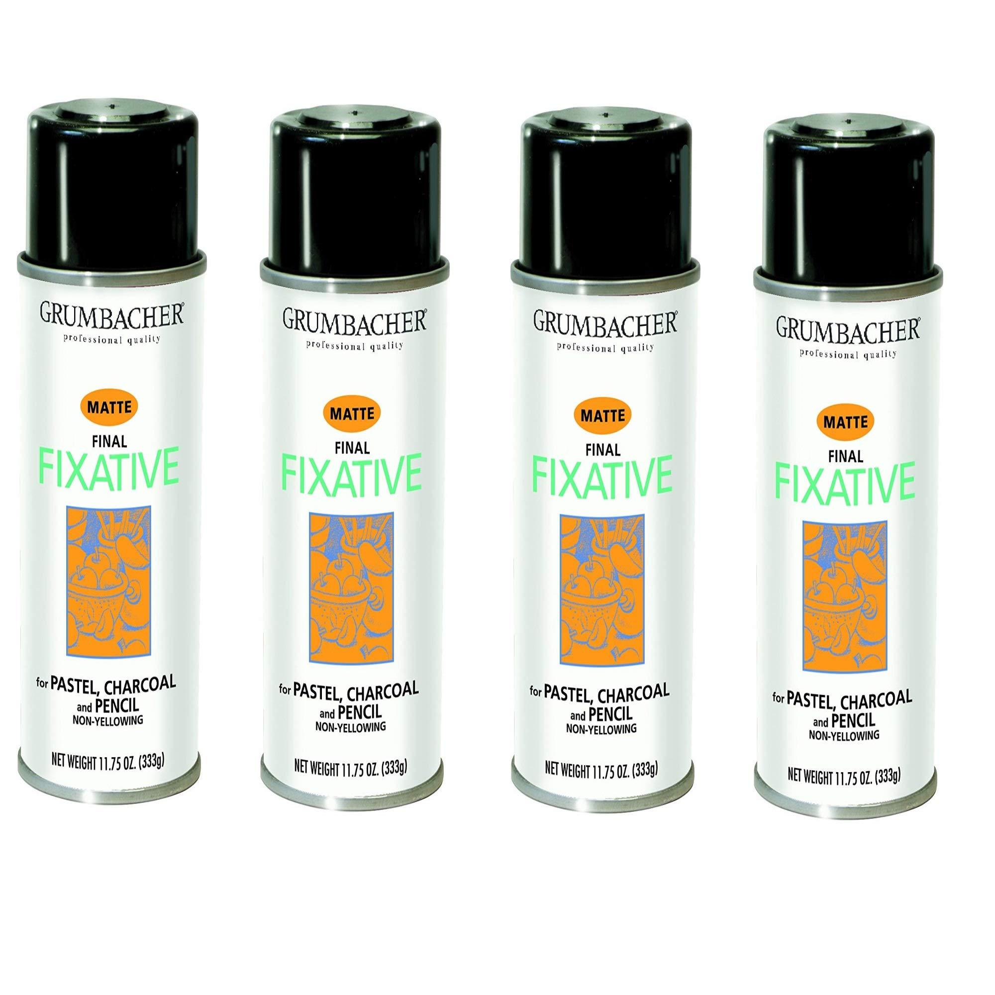 GRUMBACHER 549 11-3/4-Ounce Final Fixative Matte Spray Can, 4 Pack
