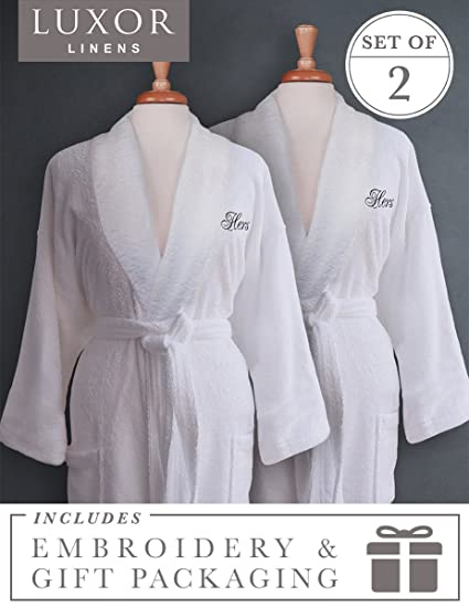 4ae491b7ea Luxor Linens Terry Cloth Bathrobes - 100% Egyptian Cotton Same-Sex Couple s  Bathrobe Set
