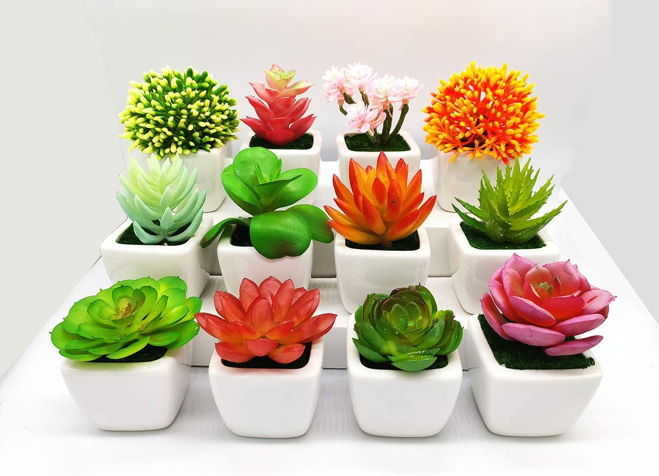 FLYYQMIAO Artificial Succulent Plants Fake Succulents Small Plants in White Ceramic Potted for Indoor Decor Office Room Desk Decoration 12 Pots