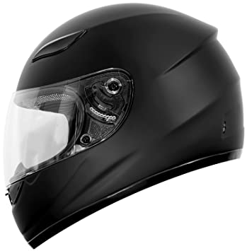 Duke Helmets DK-110 Full Face Motorcycle Helmet, Large, Matte Black