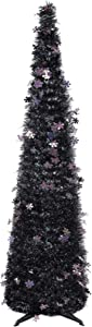 2020 New Laser Tinsel Black Halloween Tree Collapsible for Home Decor, 5 ft Pop Up Christmas Xmas Tree with Sparkle Snowflack for Apartment Office Corner Party Fireplace Front Door Decorations Indoor