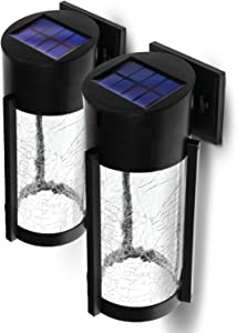 Home Zone Security Decorative Solar Wall Lights - Outdoor Crackle Glass Patio and Fence Wall Lights, 2-Pack
