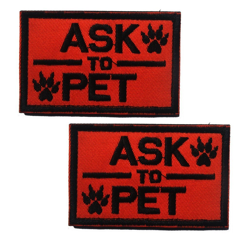 Ultrafun Service Dog Velcro Patch for Pet Harness Vest Set of 2 Ask to Pet Orange 2 X 3 Inches