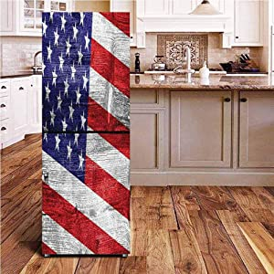 """Rustic American USA Flag 3D Door Wall Fridge Door Stickers Mural,July Independence Day Commonwealth Country Emblem Patriotism Wooden Plank Looking Wallpaper Murals Stickers for Refrigerator,24x70"""""""