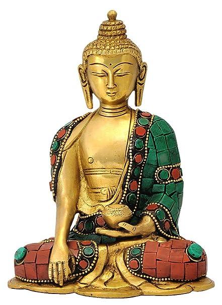 buy red bag brass gautam buddha statue standard multicolour
