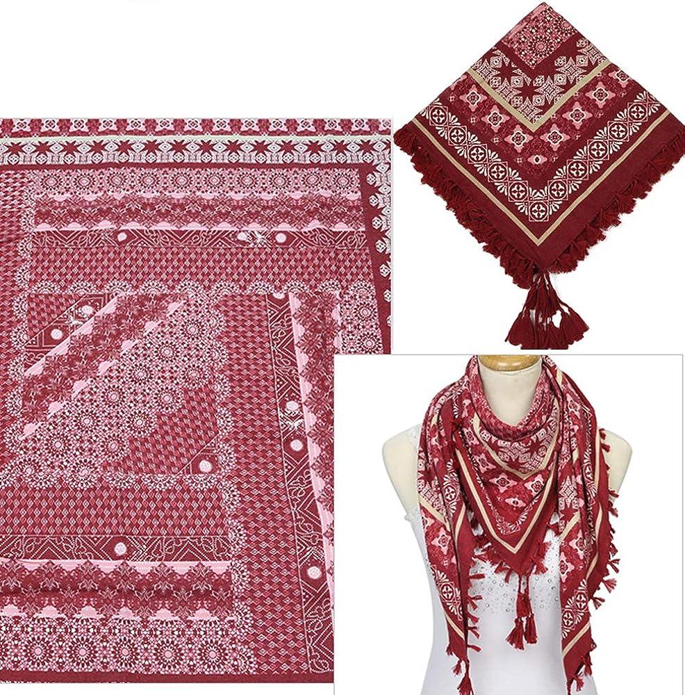Nuofengkudu Sciarpe Cotone Donna Eleganti Floreale Stampa Bohemien Etniche Stile Grande Vintage Piazza Scialli Foulard con Fiocco Scarfs 110*110CM