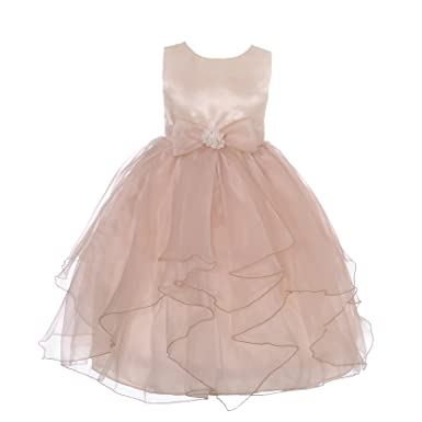 d9c82dc1e NancyAugust Baby Girl Layered Organza Pageant Flower Girl Dress S-12 (2,  Champagne