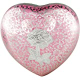 Heart Model by Meilinxu - Pet Urns for Dogs Ashes or Cremation Cat Urns for Ashes - Hand Made in Brass and Hand Engraved - Attractive Display Burial Urn - Cat / Dog Memorial (Rose Pink, Baby Urn